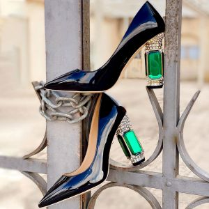 Gemstone Decorative Heels Pointed Toe Pumps New Girl Shoes Style