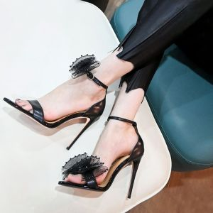Black Heeled Sandals Ankle Strap Heels Stylish Heels With Bow