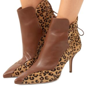 Brown and Leopard Booties Pointy Toe Back Laced Haircalf Ankle Boots
