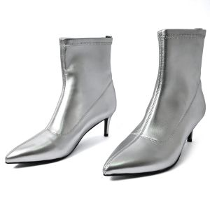 Silver Boots Kitten Heel Boots Pointy Toe Ankle Boots