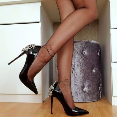 Nicepairs Black Mirror Leather Pointy Toe Pumps Rhinestone Stiletto Heels For Party