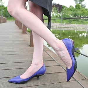 Comma Heels Pointed Toe Heels Two-Color Stitching Court Heels