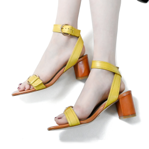 Stitching Metallic Buckle Chunky Heels Cross Ankle Strap Sandals