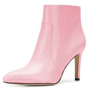Pink Glossy Leather Stiletto Heel Ankle Booties for Women